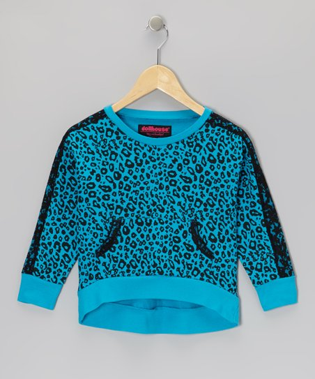 Turquoise Leopard Top - Girls