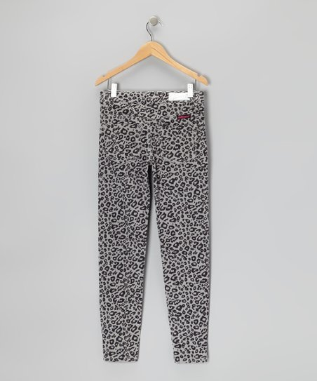 Gray Leopard Corduroy Pants - Girls