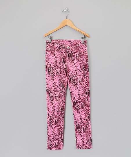 Fuchsia & Black Cheetah Skinny Pants