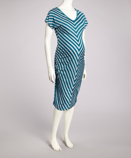 Teal & Heather Gray Chevron Maternity V-Neck Dress