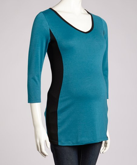 Teal & Black Maternity V-Neck Top