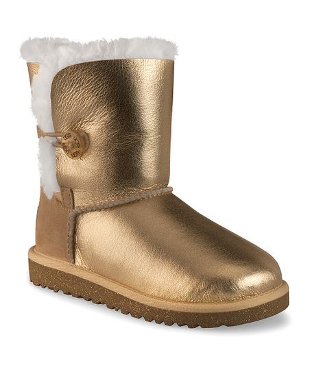 Gold Metallic Button Bailey Boot