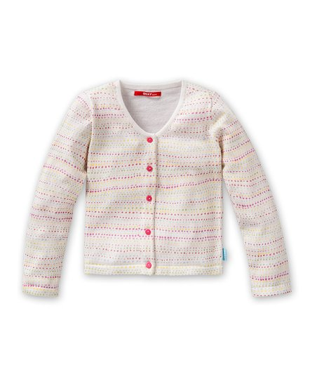 White Polka Dot Karma Cardigan - Toddler & Girls