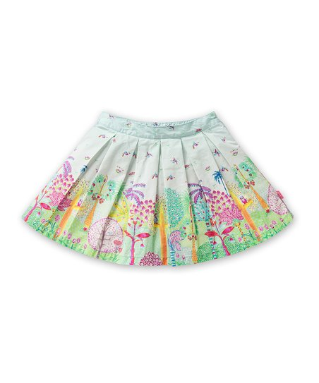 Blue Happy Jungle Scoop Skirt - Toddler & Girls
