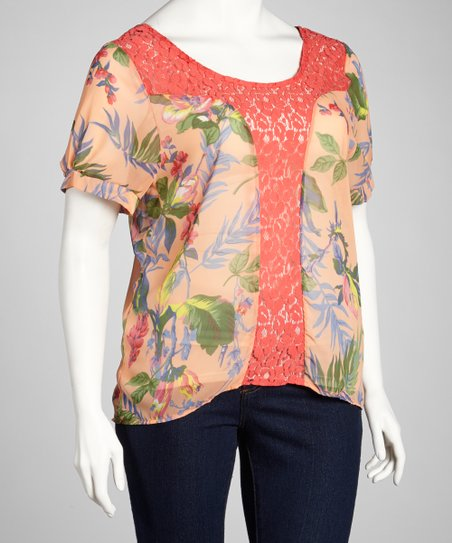 Peach & Pink Lace Floral Short-Sleeve Top - Plus