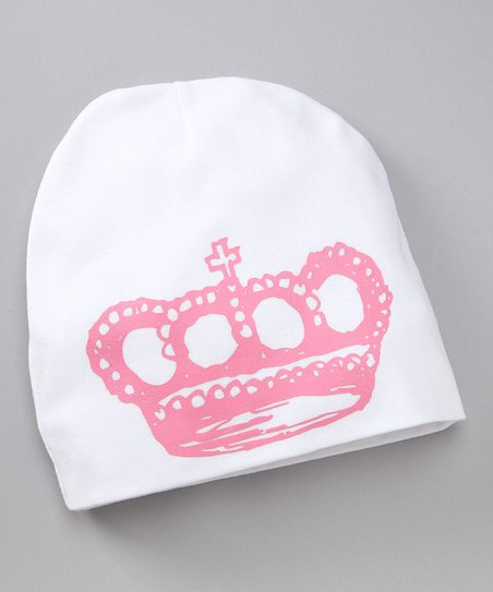 White &amp; Pink Crown Beanie