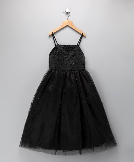 Black Beaded Formal Dress - Toddler & Girls