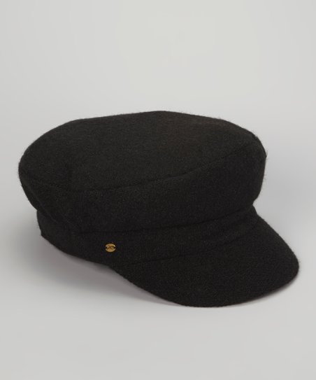 Black Angora-Wool Blend Newsboy Cap