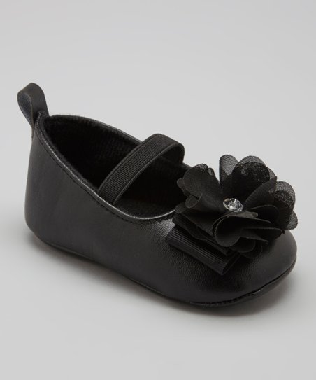 Black Soft-Sole Flower Flat