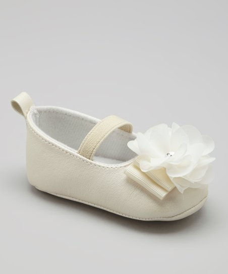 Cream & White Soft-Sole Flower Flat
