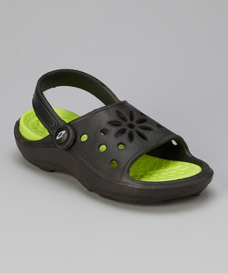 Black & Lime Cutout Sandal