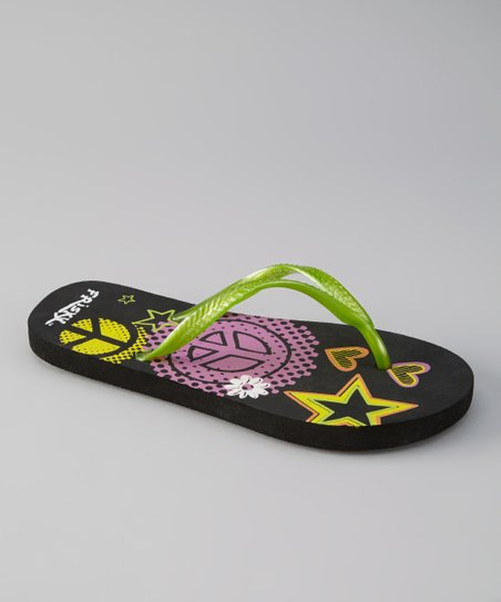 Green & Black Star Flip-Flop