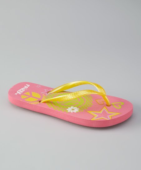 Yellow & Pink Star Flip-Flop