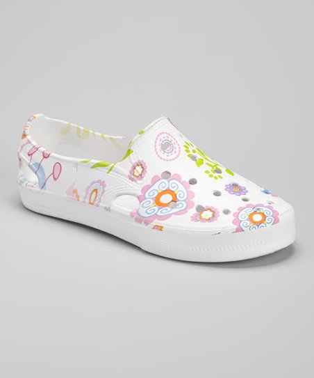 White Floral Slip-On Shoe