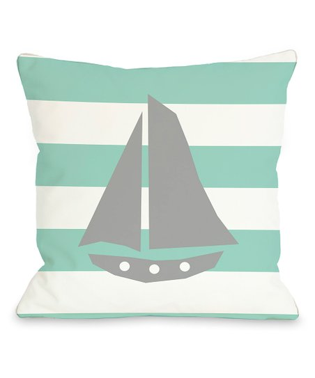 Aqua & White Stripe Sailboat Throw Pillow