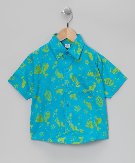 Turquoise Short-Sleeve Button-Up - Toddler &amp; Boys