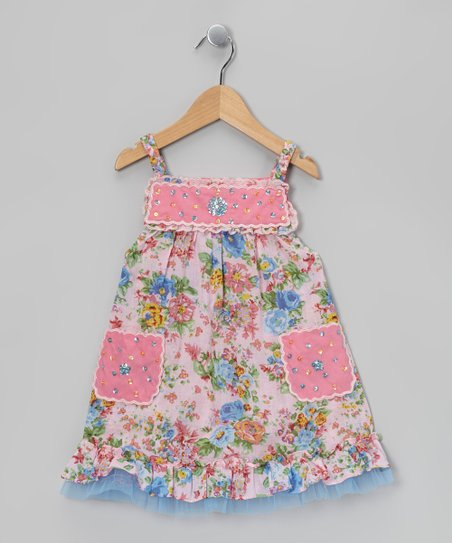 Pink & Aqua Rhinestone Scallop Dress - Toddler & Girls