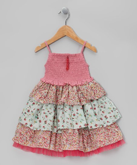 Pink & Mint Ruffle Tiered Dress - Toddler & Girls