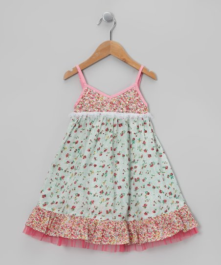 Pink & Mint Party Babydoll Dress - Toddler & Girls