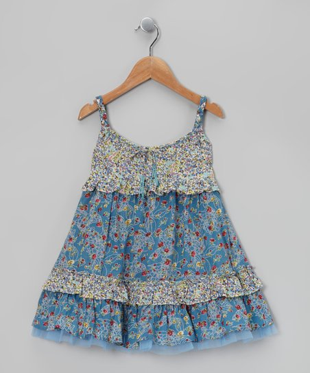 Blue Drawstring Swing Dress - Toddler & Girls