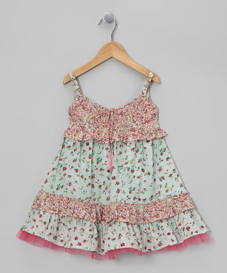 Pink & Mint Drawstring Swing Dress - Toddler & Girls