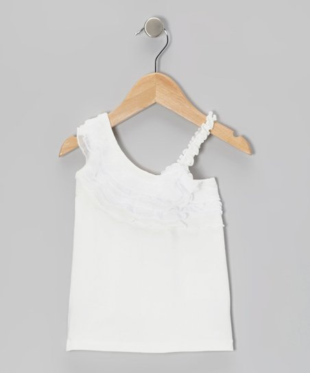 White Ruffle Asymmetrical Top - Toddler & Girls