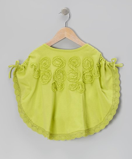 Green Ruffle Tie Poncho - Toddler & Girls