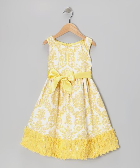 Yellow Damask Evelyn Dress - Toddler