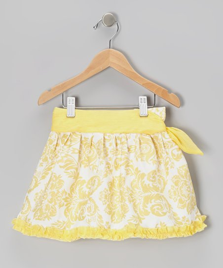 Yellow Damask Tie Skirt - Infant & Girls