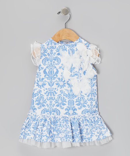 Blue Damask Drop-Waist Dress - Infant
