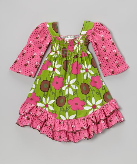 Brown Spotted Garden Shirred Dress - Infant, Toddler & Girls