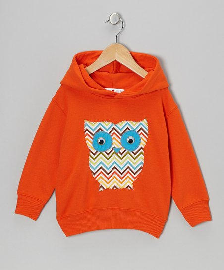 Orange Zigzag Owl Hoodie - Toddler & Girls