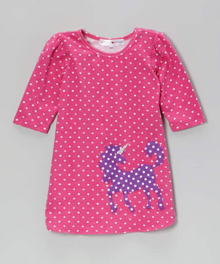Pink Polka Dot Unicorn Appliqué Dress - Toddler & Girls