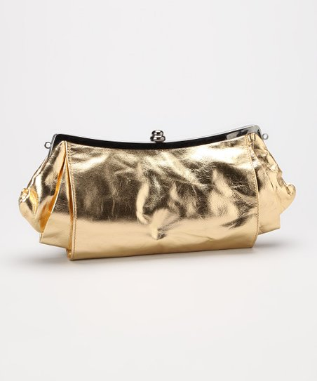 Gold Pleated Leather Clutch