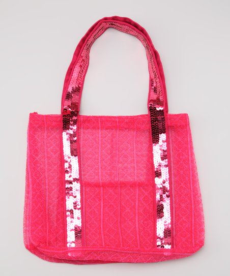 Fuchsia Sequin &amp; Mesh Tote