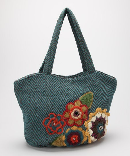Teal Blue Embroidered Floral Satchel