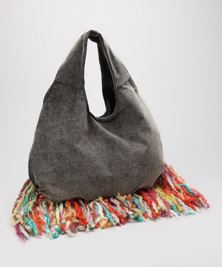 Gray Rainbow Fringe Hobo