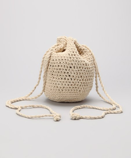 Natural Macramé Drawstring Crossbody Bag
