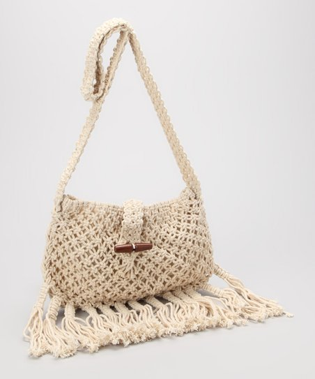Natural Macramé Fringe Crossbody Bag