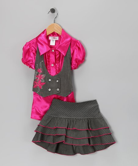 Fuchsia Vest Set - Toddler & Girls