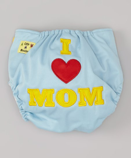 Blue 'I Love Mom' Pocket Diaper