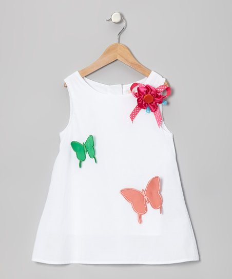 White Butterfly Swing Tunic - Toddler & Girls