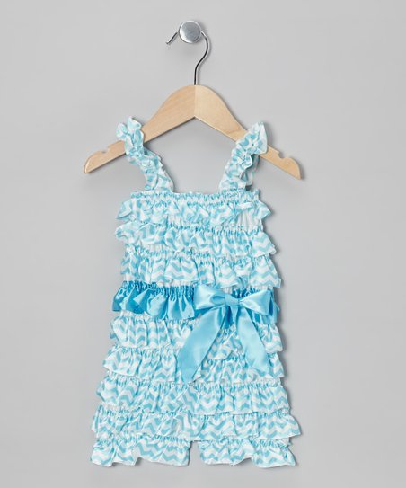 Blue Zigzag Ruffle Romper - Infant & Toddler