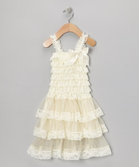Cream Lace Tiered Ruffle Dress - Toddler & Girls