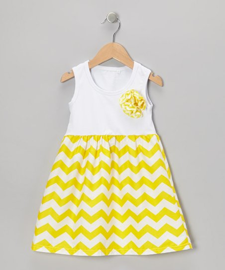 Yellow Zigzag Pinwheel Dress - Toddler & Girls