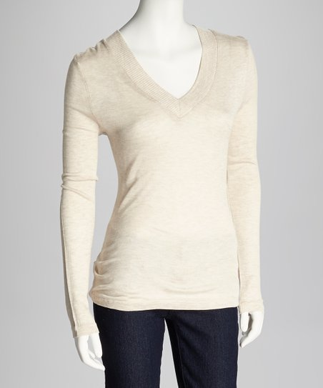 Heather Beige V-Neck Top