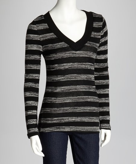 Black & Gray Stripe V-Neck Top