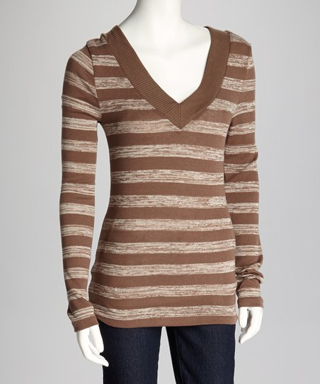 Mocha & White Stripe V-Neck Top