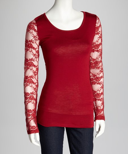 Burgundy Lace Long-Sleeve Top