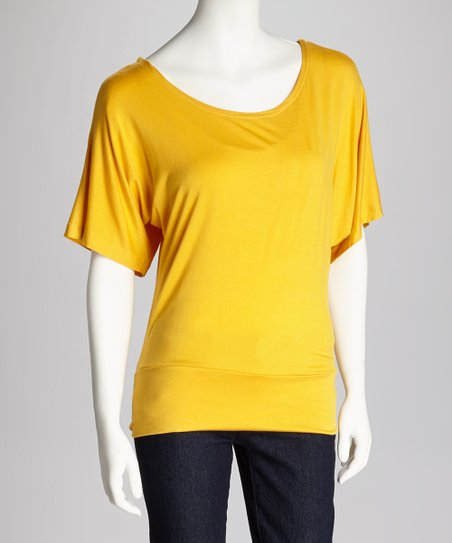 Mustard Cape-Sleeve Top